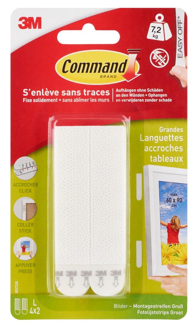 Lot De 8 Languettes Adhésives Réutilisable Command Grand Modèle Command Blanc