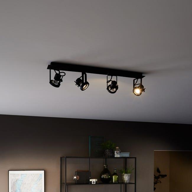 Plafonnier 4 Spots Fer Noir Inspire Technic Leroy Merlin