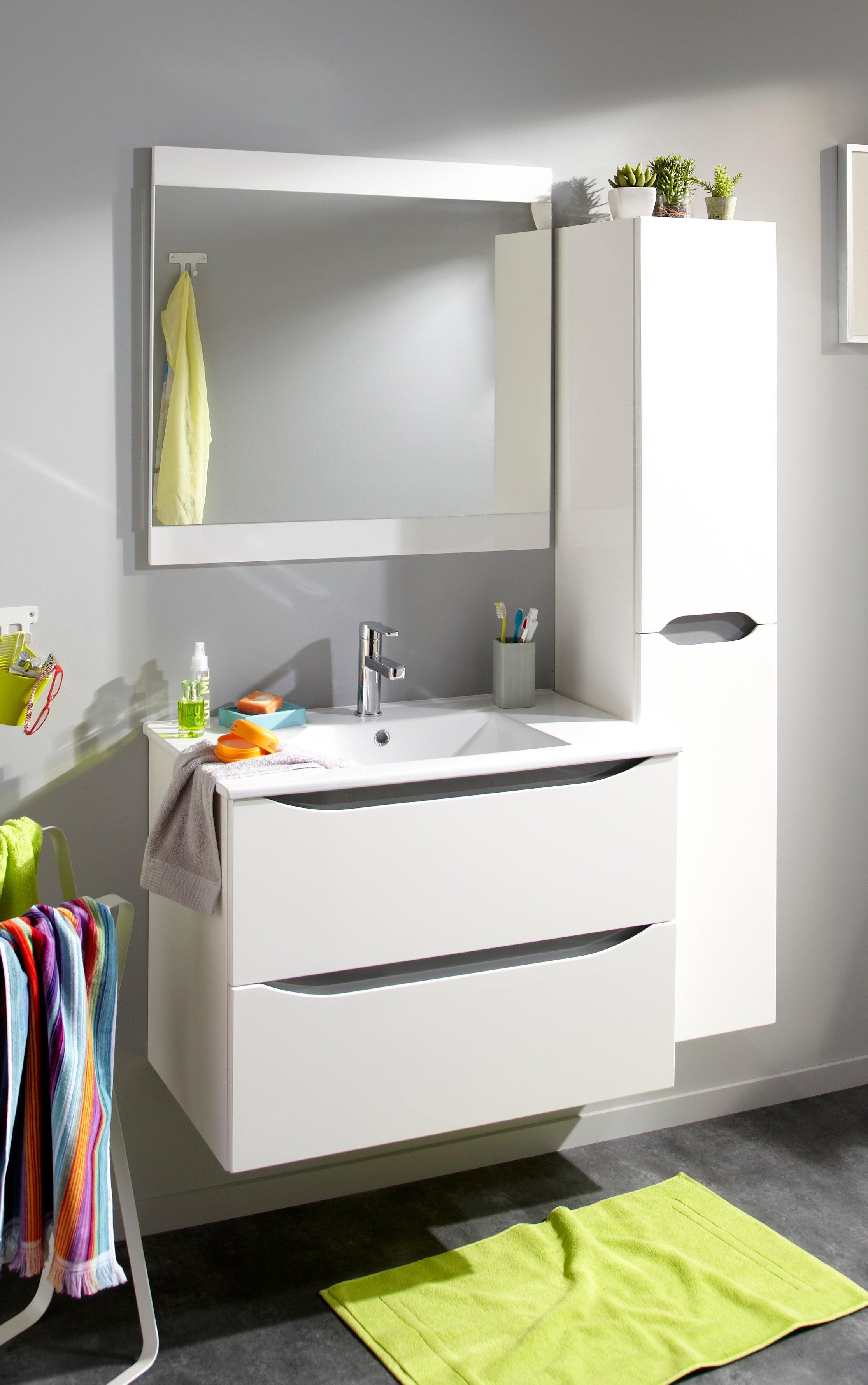 Meuble simple vasque l.20.20 x H.20 x P.20.20 cm, blanc, Smile