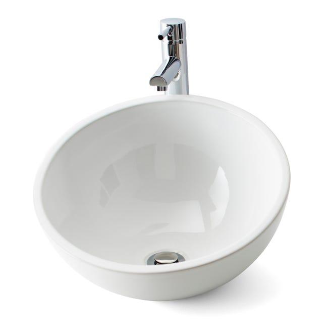 Vasque A Poser Ceramique Diam 40 Cm Blanc Lounge Leroy Merlin