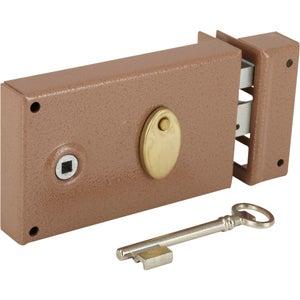 Image : Serrure en applique BRICARD, axe 55 mm, à poignée, ouverture à droite