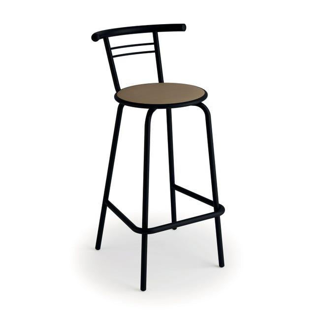 Tabouret De Bar Industriel Simili Cuir Noir Camie Leroy Merlin