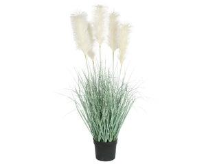 Herbes pampa artificiels en pot avec 5 plumeaux blancs diamètre 70 cm hauteur 13