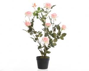 Botte de roses polyester en pot avec 7 fleurs hauteur 80 cm rose doux