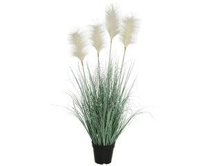 Herbes pampa artificiels en pot avec 4 plumeaux blancs diamètre 53 cm hauteur 92