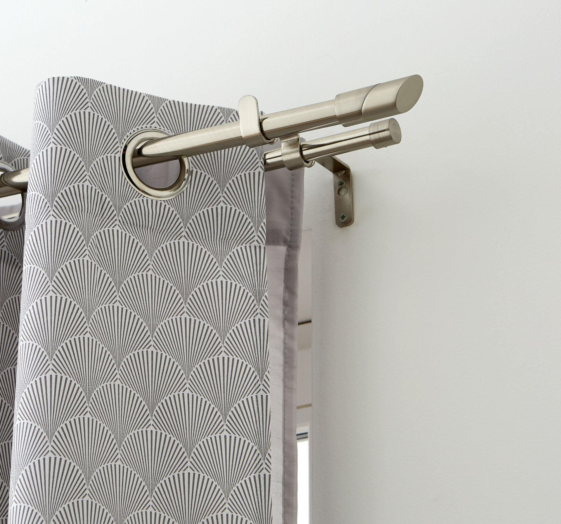 kit de tringle a rideau twin diam 16 19 mm gris argent brosse 120 210 cm