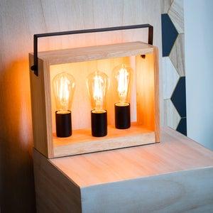 Image : Lampe de bureau, factory, e27 à poser marron large SEYNAVE, métal, bois