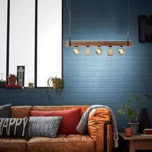 Image : Suspension, E27 style industriel WOODHILL métal noir et bois BRILLIANT