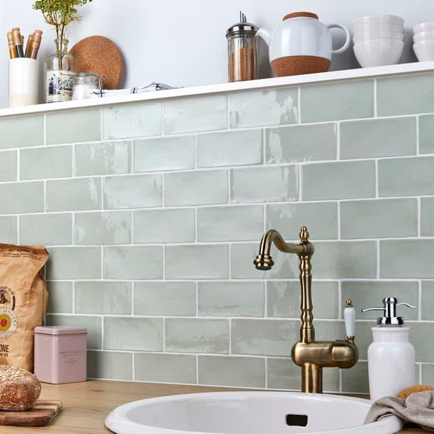 Carrelage mur forte uni sauge brillant l.7.5 x L.15 cm, Bakerstreet | Leroy Merlin