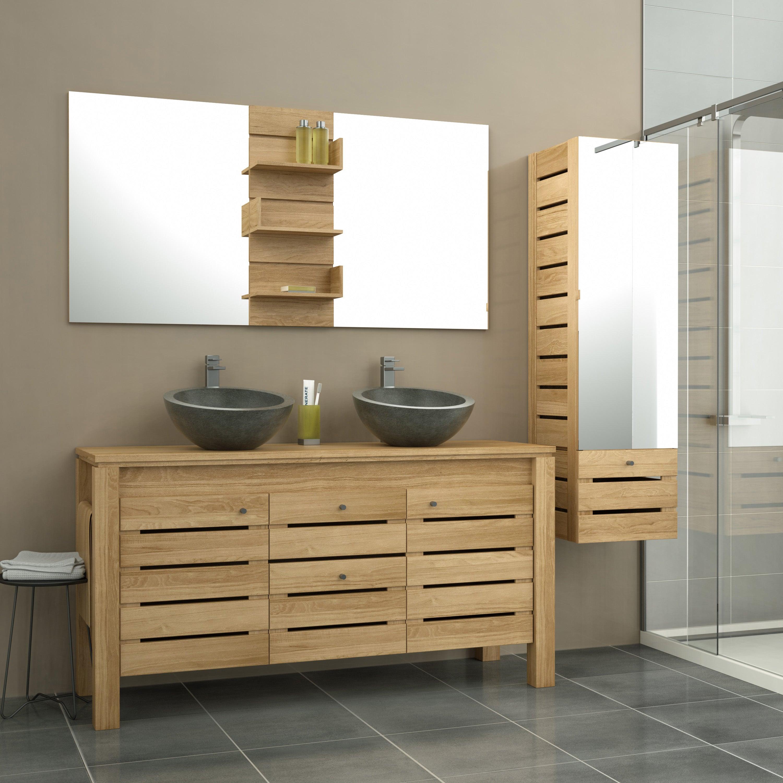 Meuble de salle de bains l.20 x H.20.20 x P.200 cm, teck, Moorea