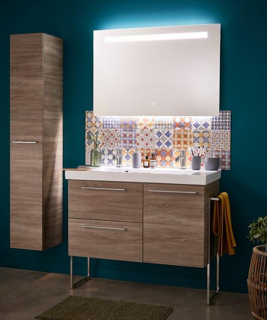Meuble De Salle De Bains Simple Vasque L 60 X H 58 X P 48 Cm Effet Chene Havane Leroy Merlin