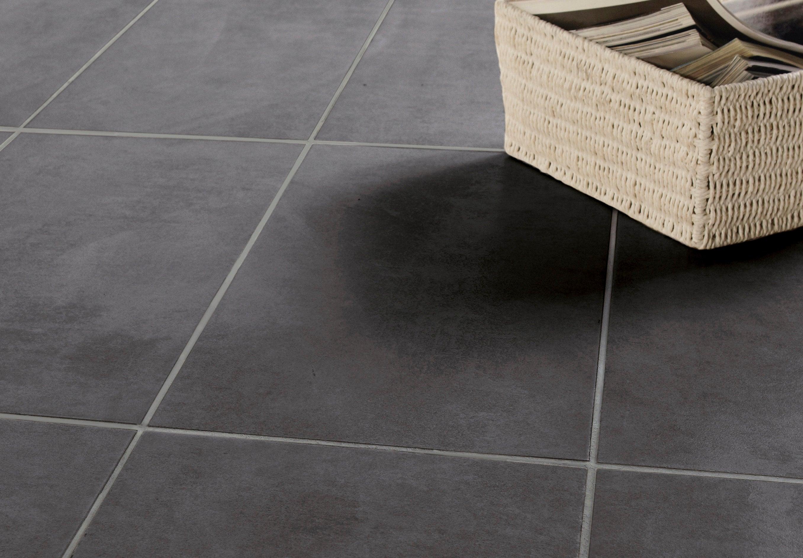 Carrelage sol et mur forte effet béton noir Factory l.9 x L.9 cm