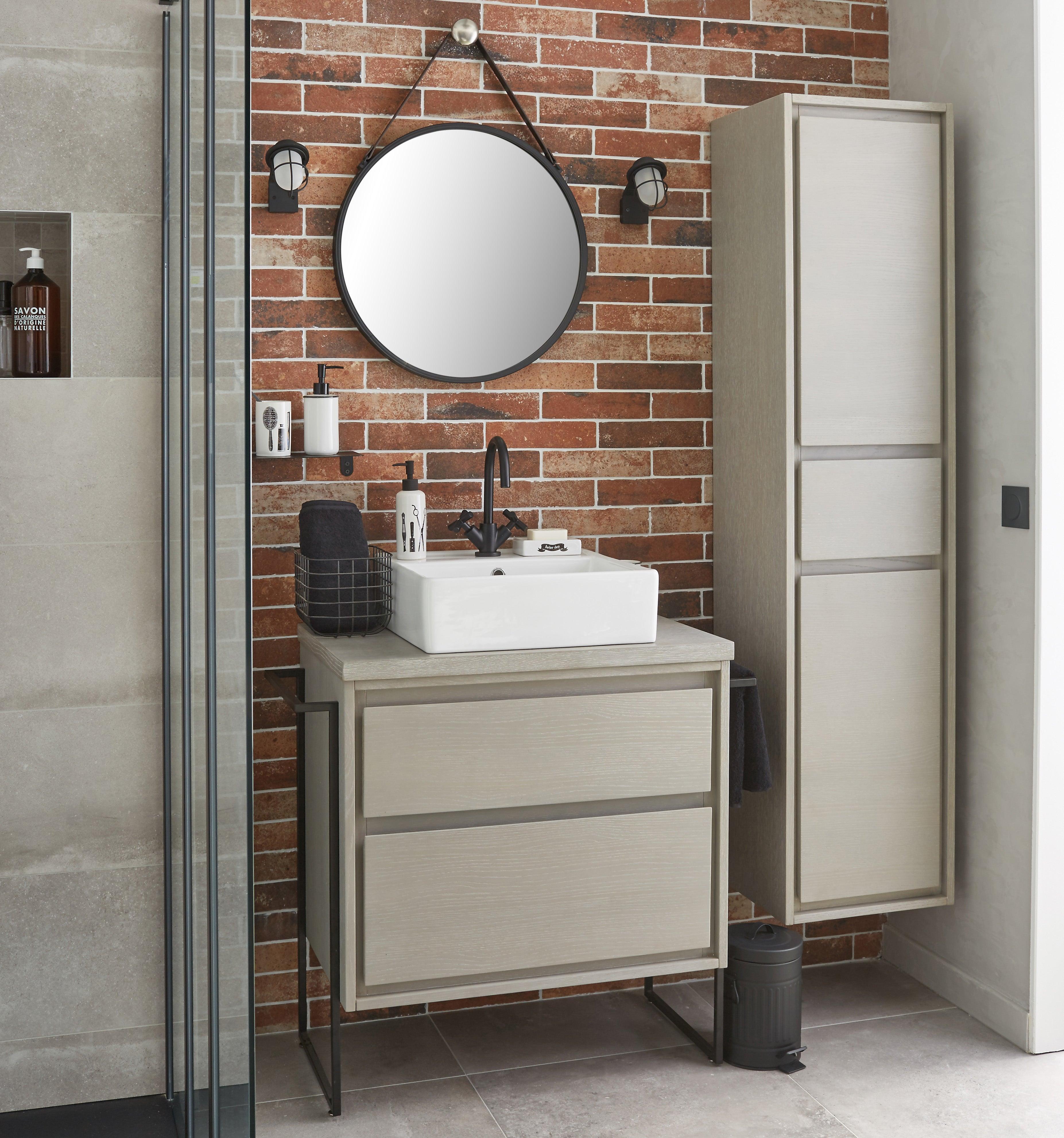 Meuble de salle de bains l.16 x H.16 x P.16 cm, effet chêne grisé, Nordic