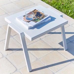 Image : Table de jardin basse Ibiza rectangulaire blanc 2 personnes