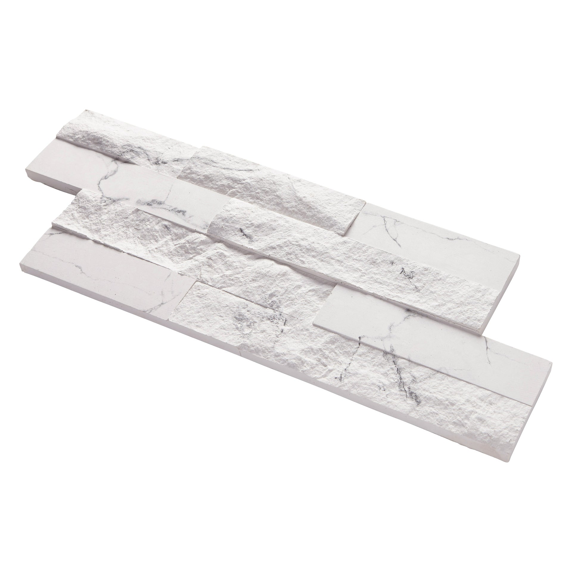 Plaquette de parement plâtre effet pierre claire blanc Nora intérieur