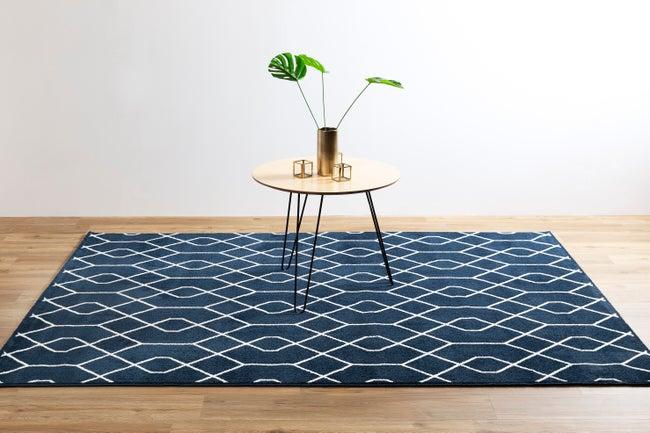 Tapis bleu foncé rectangulaire, l.120 x L.170 cm Gina