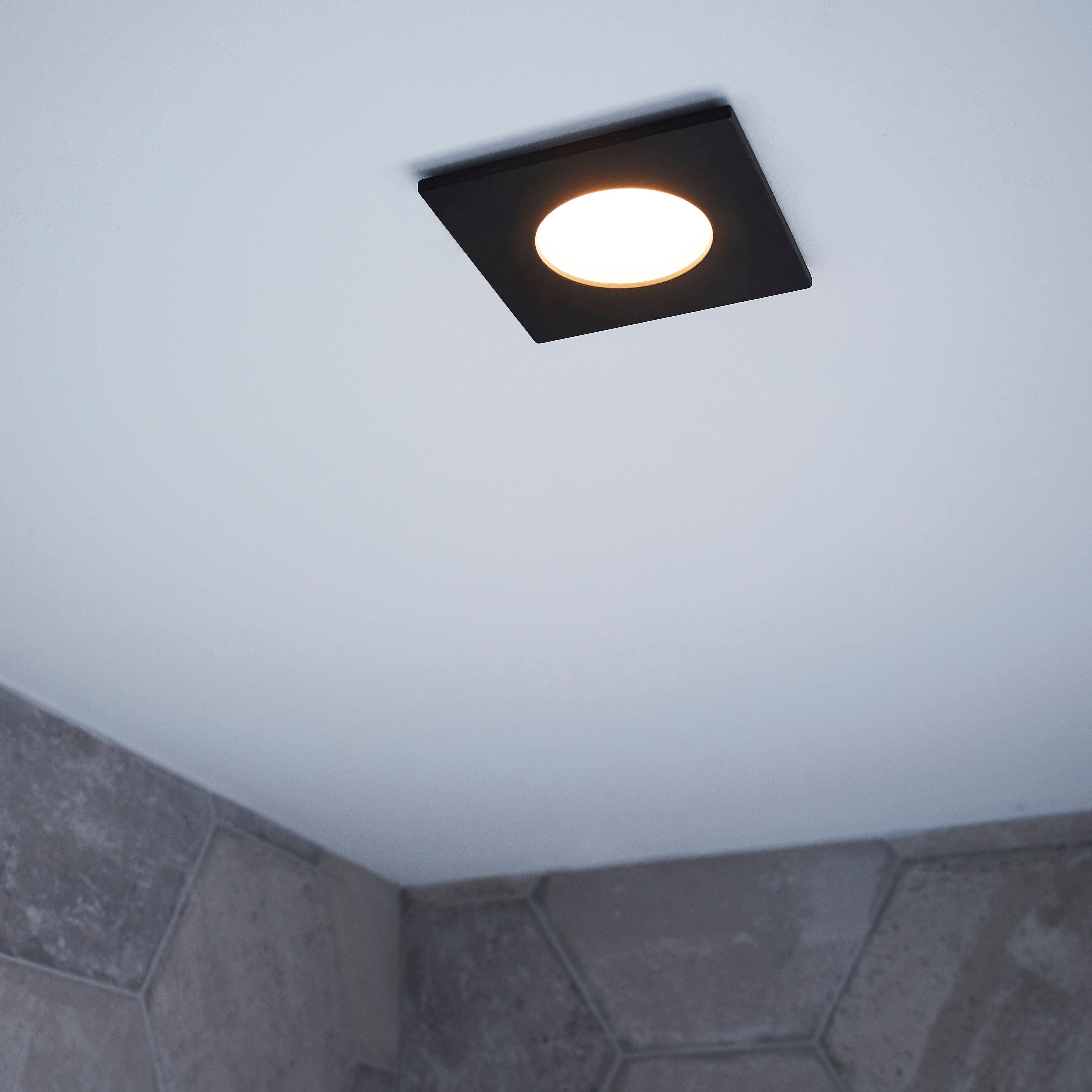 Kit 1 Spot A Encastrer Salle De Bains Lucik Led 4000k Inspire Carre Noir Leroy Merlin