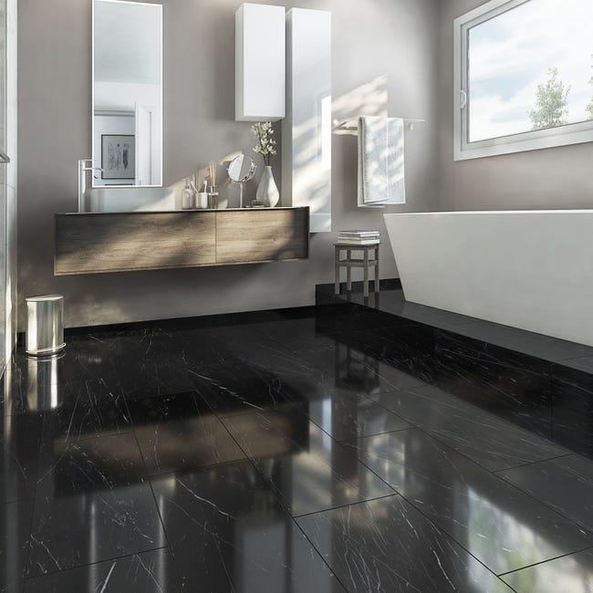 Carrelage Sol Et Mur Noir Effet Marbre Rimini L 30 X L 60 Cm Leroy Merlin