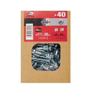 Image : 40 chevilles à expansion STANDERS, Diam.11 x L.36 mm
