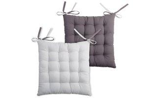 Galette de chaise Duo coton, gris & perle l.40 x H.40 cm