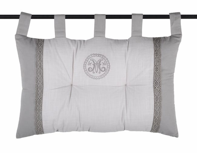 Coussin Marie Pour Tete De Lit Coton Gris Blanc L 70 X H 45 Cm