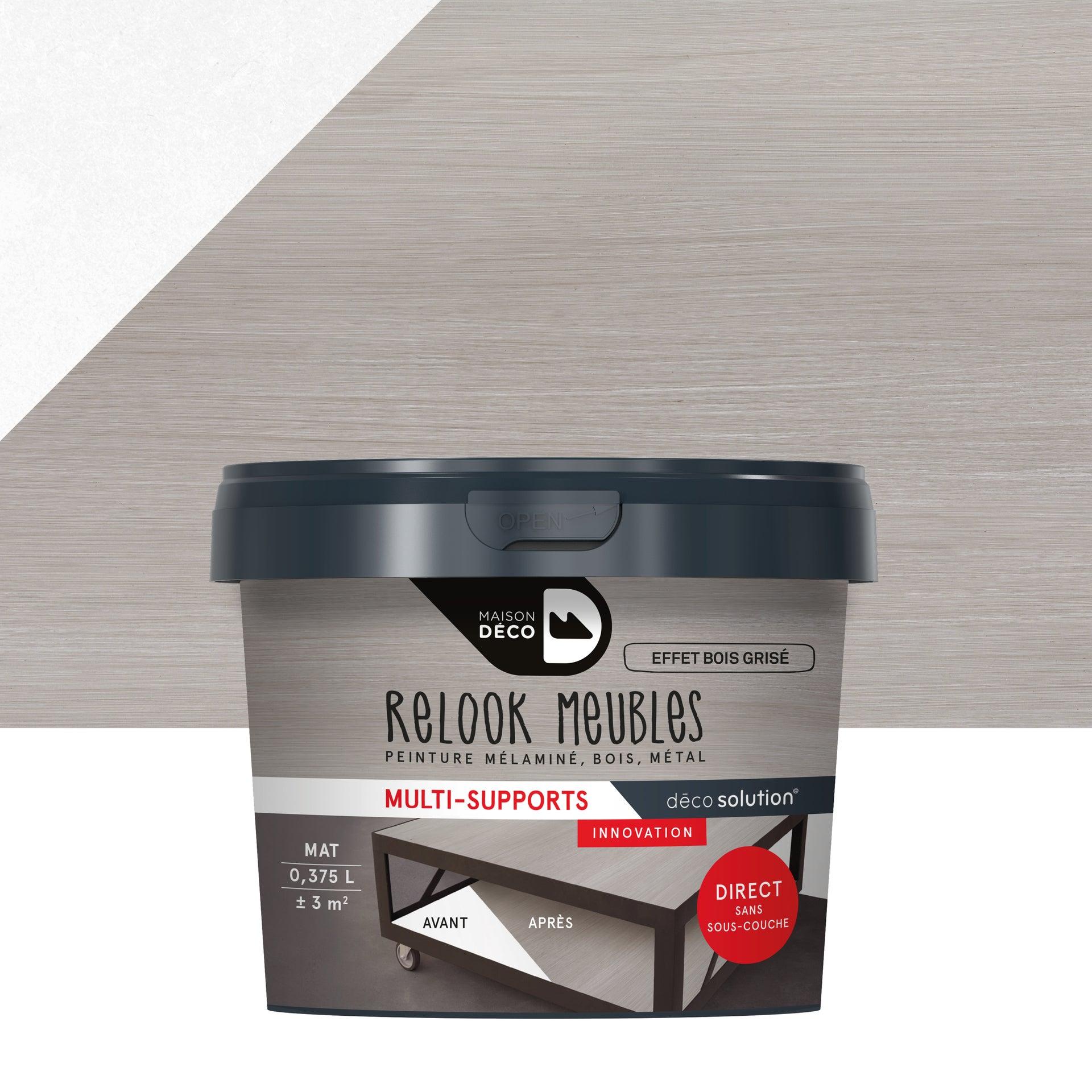 Peinture pour meuble Relook MAISON DECO effet bois grise bois mat 375 ml | Leroy Merlin