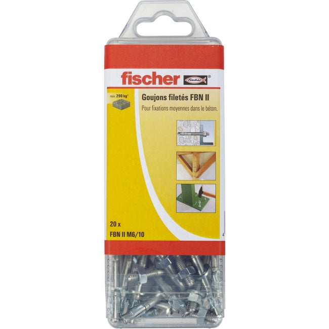 Lot De 20 Goujons à Expansion Fbn Ii Fischer Diam6 X L65 Mm