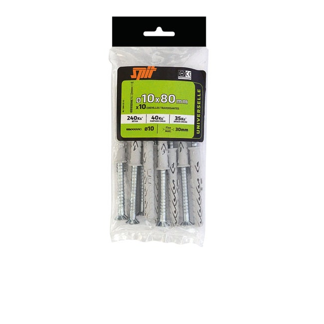 Lot De 10 Chevilles à Expansion Nylon Spit Diam10 X L80 Mm