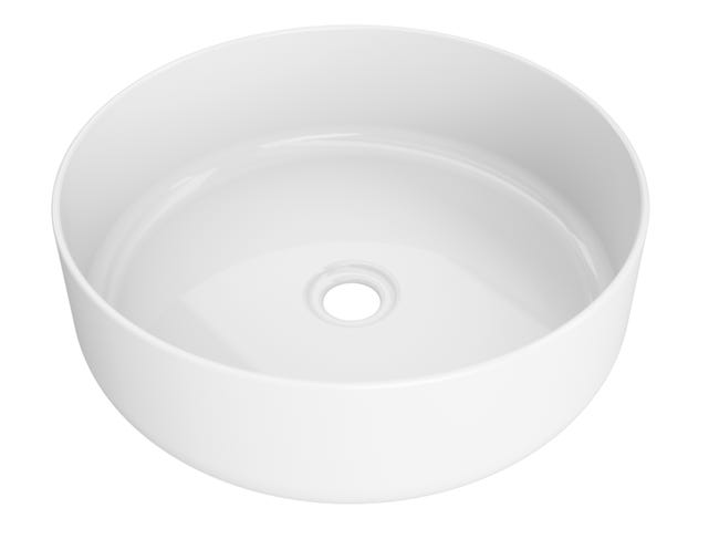 Vasque A Poser Porcelaine L 37 X P 9 5 Cm Diam 36 Cm Blanc Leroy Merlin