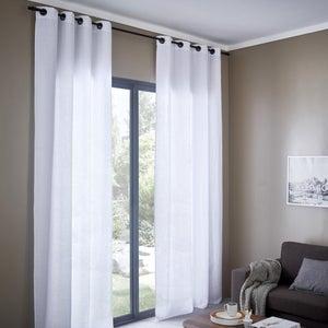 Image : Rideau tamisant, lin, Solenzara blanc l.140 x H.280 cm