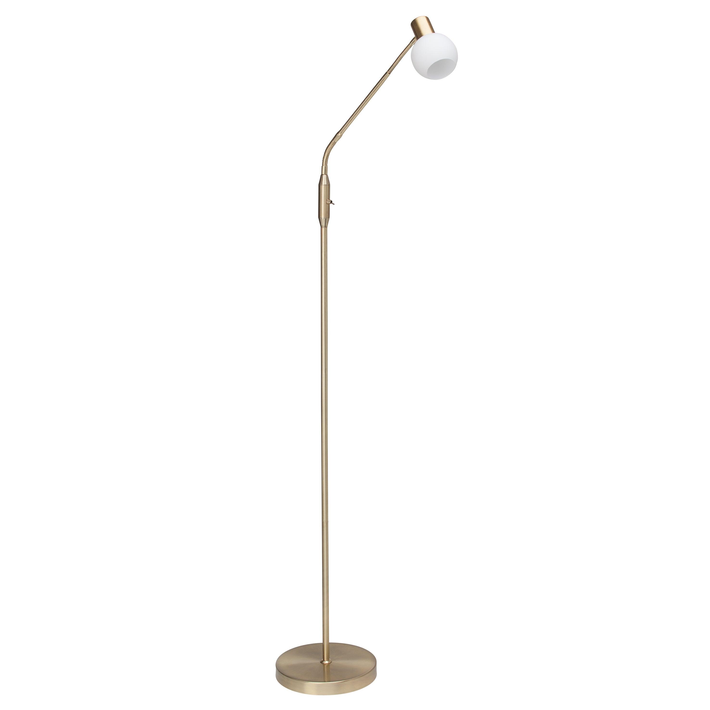 Lampadaire LED articulé, design métal, BRILLIANT PHILO laiton