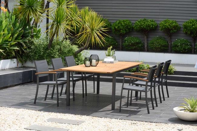 Table de jardin de repas Kingsburry rectangulaire naturel et gris de 6 à 8  perso