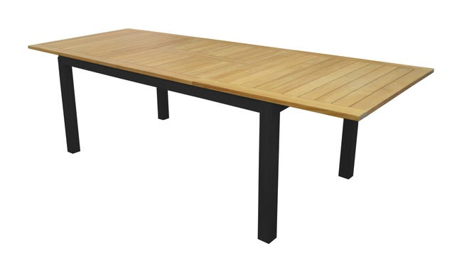 Table De Jardin De Repas Tempo Rectangulaire Gris Teck De 6 A 10 Personnes Leroy Merlin