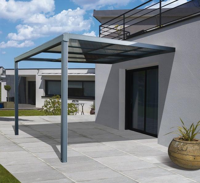 Tonnelle Adossée Toscana Aluminium Gris Anthracite 12 M²