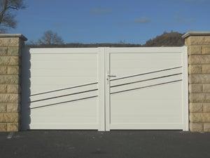 Mousse Sur Portail Pvc portail battant aluminium auzay vert, l.355 x h.169.7 cm