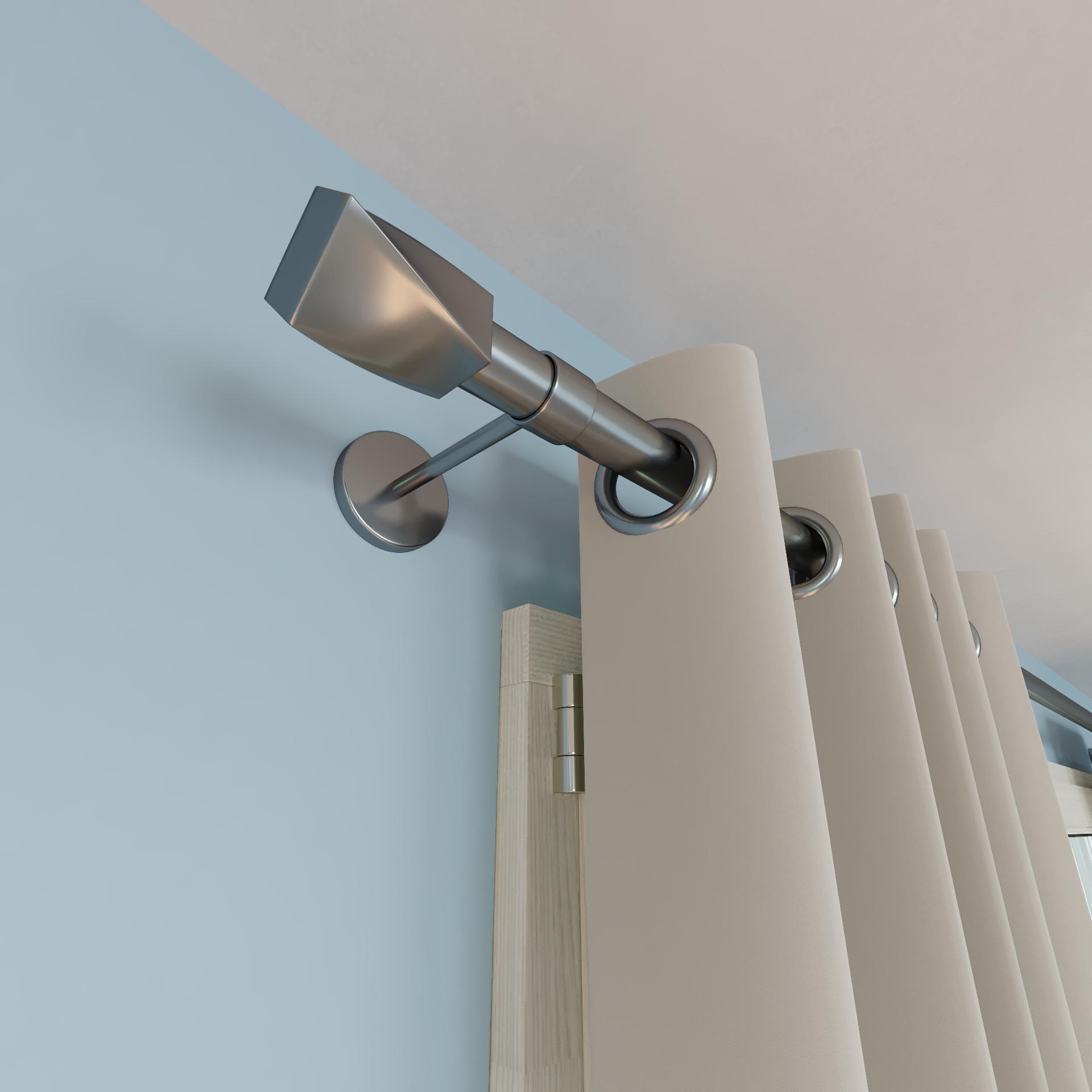 lot de 2 supports sans percage murs perces tringle a rideau 28 mm gris mat ib