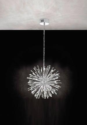 Image : Suspension, design métal chrome EGLO Vivaldo 21 lumière(s) D.68 cm