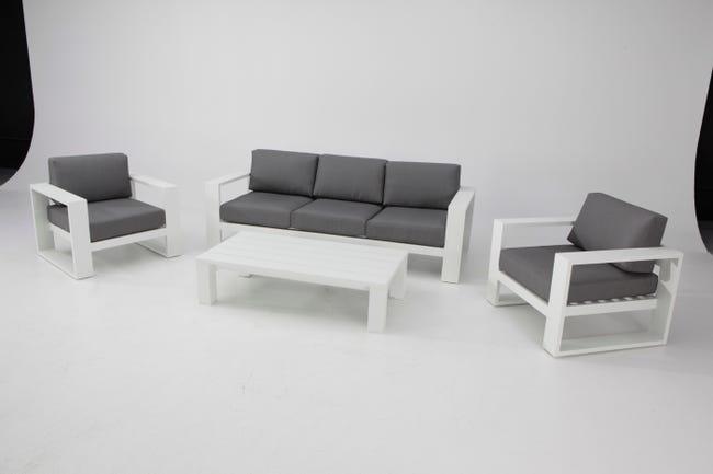 Salon Bas De Jardin Symi Aluminium Blanc 4 Personnes Leroy Merlin