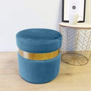 Image : Pouf basse bleu Milo, 35 x 35