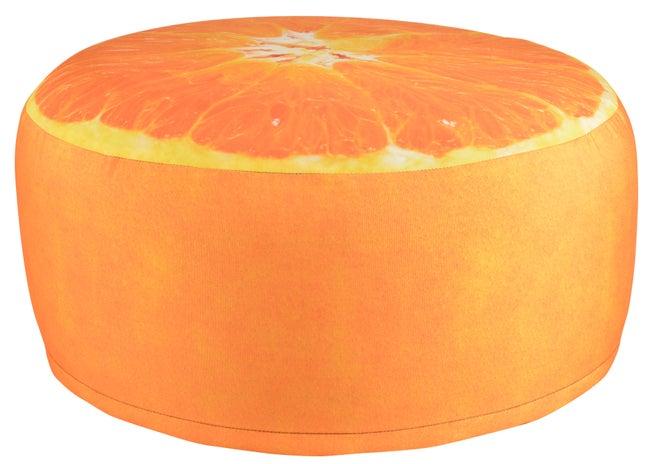 Pouf gonflable impression orange D38cm, imperméable Bk013