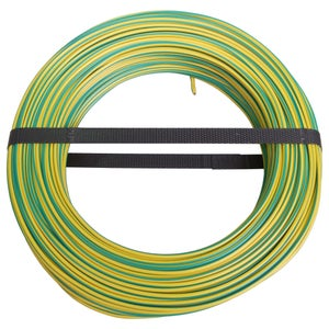 Image : Fil électrique h07vu vert / jaune, 1.5 mm² L.100 m