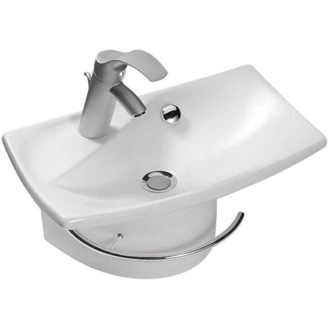 Lave Mains Avec Porte Serviette Ceramique Blanc L 50 X P 31 5 Cm Escale Leroy Merlin