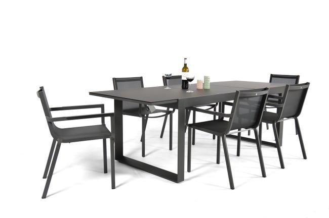 Table De Jardin De Repas Horizon Rectangulaire Anthracite De 4 A 6 Personnes Leroy Merlin