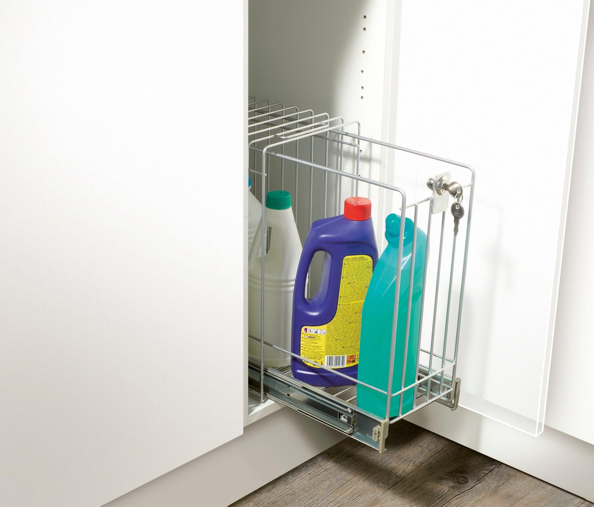 Rangement coulissant produits d'entretien sécurisé pour meuble l.60 cm | Leroy Merlin