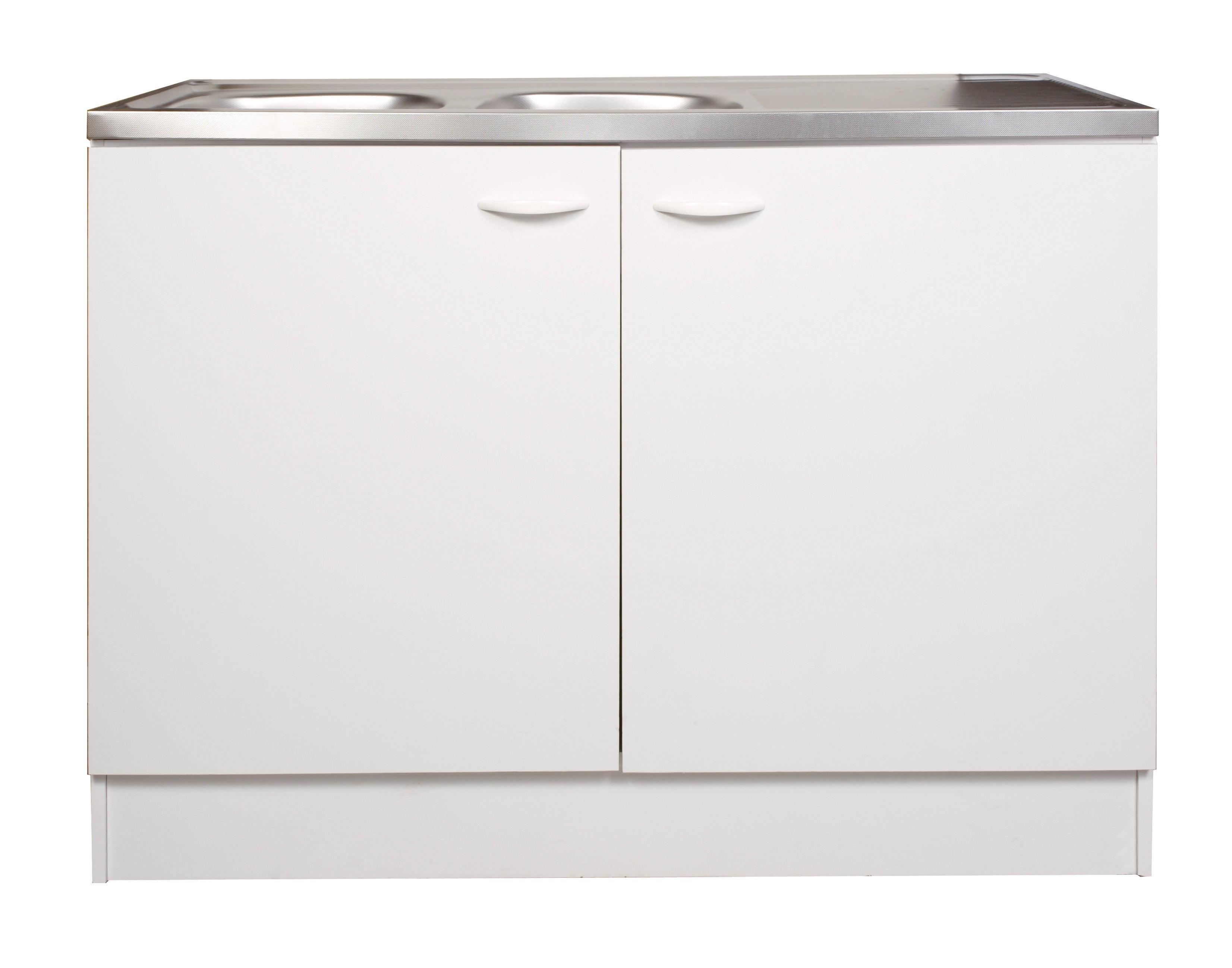 Meuble de cuisine sous-évier 14 portes, blanc, h14x l1140x p14cm