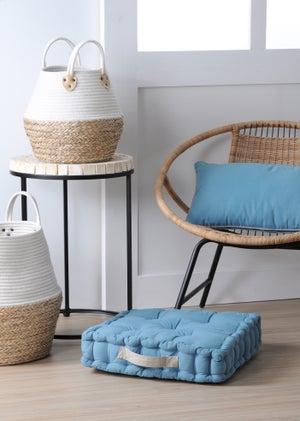 Coussin de sol Duo coton, bleu azur / beige lin l.45 x H.10 cm