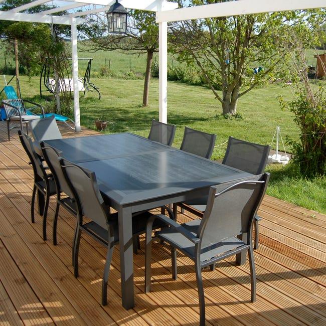 Table De Jardin De Repas Varangue Ambilobe Rect Anthracite 12 Personnes Leroy Merlin