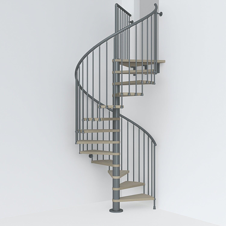 escalier colimacon rond revers acier gris ant ring 12 mar orme clair 148 cm