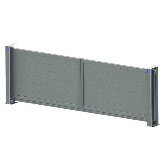 Portail Coulissant Aluminium Lameline Gris L 350 X H 175 Cm Leroy Merlin