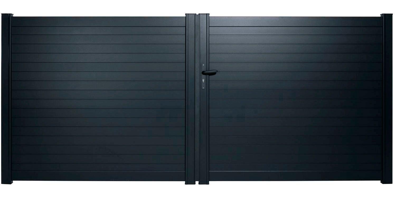 Portail Coulissant Aluminium Auzay Gris Anthracite L 305 X H 169 7 Cm Leroy Merlin